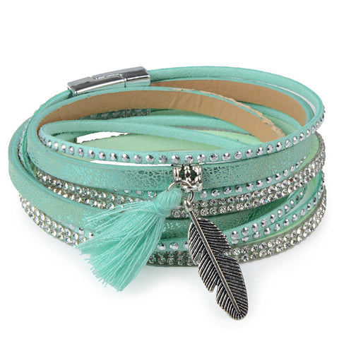 Teal Rhinestone Feather Wide Multilayer Leather Bracelet Magnetic Tassel Bracelet Women Wrap Charm Boho Bohemian Bracelets Bangle Men - Bohemian Gift Stores