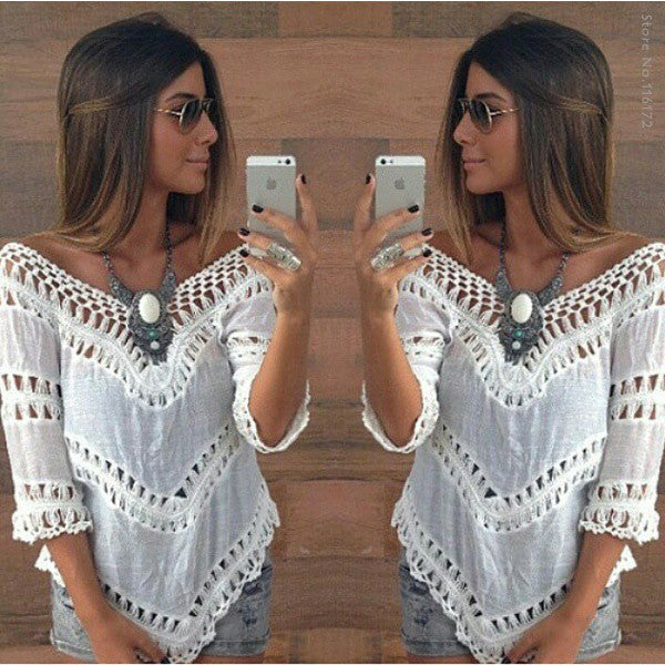 Sexy V neck White Tunic Crochet Lace Top Women Elegant Blouse Ladies Beach Kimono Shirt - Bohemian Gift Stores