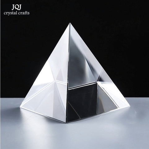 6CM K9 AAA Quartz Crystal Glass Pyramid Paperweight natural stones and minerals crystals Fengshui Figurine For Home Office Decor - Bohemian Gift Stores