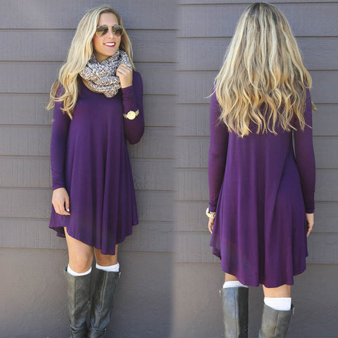 Autumn Winter Dress Female Cotton O-neck Long Sleeve Mini Woolen Dresses - Bohemian Gift Stores