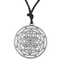 Mandala CHAKRA 3rd Eye Hindu Goddess Yoga Sri Yantra Wiccan Pagan Punk Men Rope Necklace - Bohemian Gift Stores