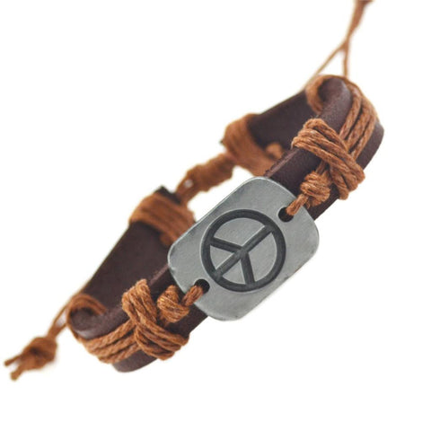 Peace Leather Bracelets For Women Men Bracelets & Bangles - Bohemian Gift Stores