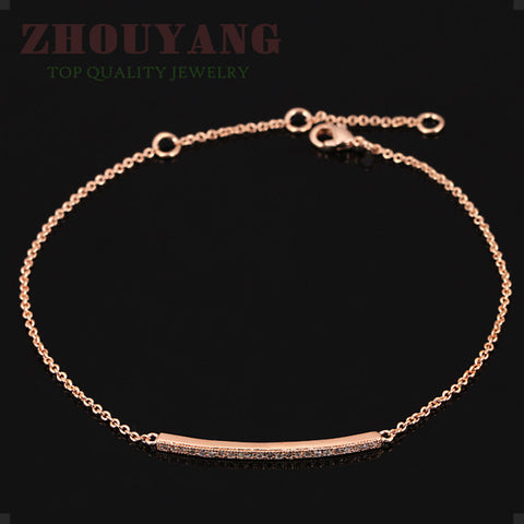 Rose Gold or Platinum Plated Silver  Bracelet On Dainty Gold Chain - Bohemian Gift Stores
