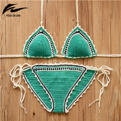 Sexy Handmade Crochet Bikini women crochet Swimsuit Brazilian biquini 2016 Crochet Swimwear Bathing Suit hot sale beach suit