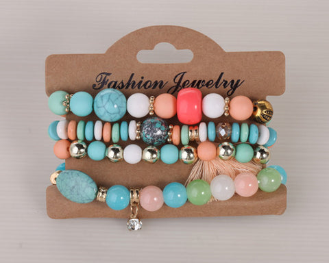 4pcs/set Tassel Four Color Vintage Design Turquoise Beads Elastic Thread Fashion 2016 New Bracelet For Women - Bohemian Gift Stores