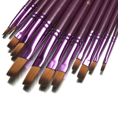 12pcs/lot Different Size Artist Fine Nylon Hair Paint Brush Set For Watercolor Acrylic Oil Painting Brushes Drawing Art Supplie - Bohemian Gift Stores