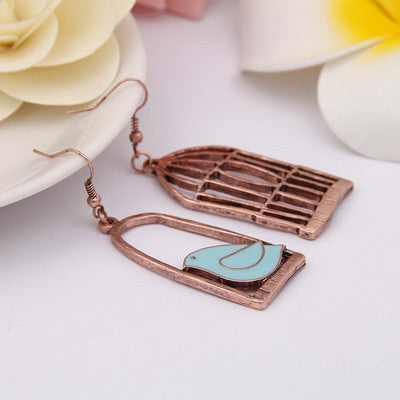 Bird-Cage Lovely Drop Earrings For Women Brincos Peace Dove Bird Cage Dangle Earrings - Bohemian Gift Stores