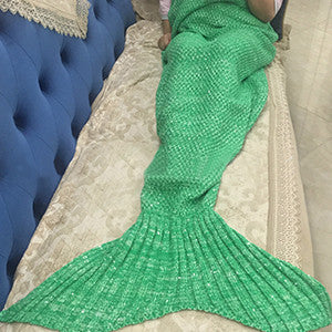 Mermaid Blanket Yarn Knitted Mermaid Tail Blanket Handmade Crochet Very Soft For Home Sofa Sleeping Bag Kids Adults Sleeping Bag - Bohemian Gift Stores