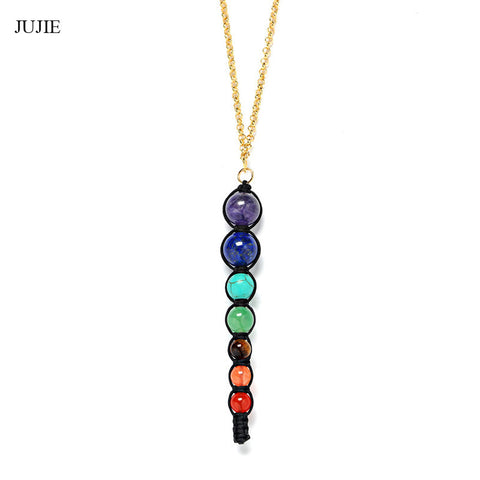 Fashion Chokers Necklaces For Women 2016 Long Chakra Natural Stone Pendant Necklace 7 Chakra Pendant Yoga Necklace For Men