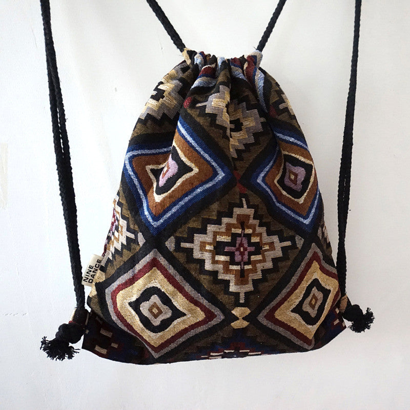 Backpack Female Gypsy Bohemian Boho Chic Aztec Folk Tribal Ethnic Fabric Brown String Drawstring Backpack Bag - Bohemian Gift Stores