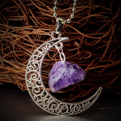 Vintage Moon Necklace Irregular Natural Stone Pendant Necklaces Amethyst Rose Quartz Crystals Antique Bronze Chains - Bohemian Gift Stores