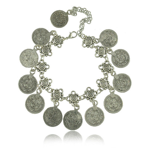 Tibetan Silver Plated Jewelry Gypsy Coin Carving  Vintage Styling Bracelets Retro Gold And Silver Plated Bracelets Jewelry Gifts - Bohemian Gift Stores