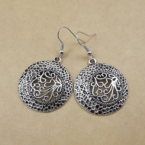 Ethnic Tibetan silver bohemian circle earrings - Bohemian Gift Stores