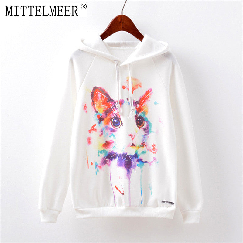 Harajuku printed hoodie o-neck Kawaii Cartoon Watercolor cat printing Hoodies tops for women - Bohemian Gift Stores