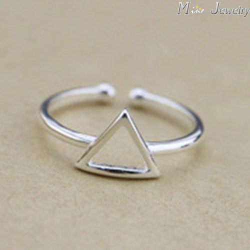 925 Sterling Silver Rings Silver Geometric Triangle Ring Open Rings For Girl Women Gift Jewelry - Bohemian Gift Stores