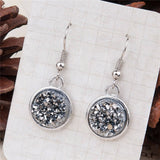 Druzy /Drusy Dangle Drop Earrings Silver Tone Blue AB Color Round - Bohemian Gift Stores