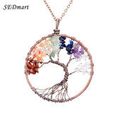7 Chakra Tree Of Life Pendant Necklace Copper Rose Quartz Turquoise Crystal Natural Stone Necklace Women - Bohemian Gift Stores