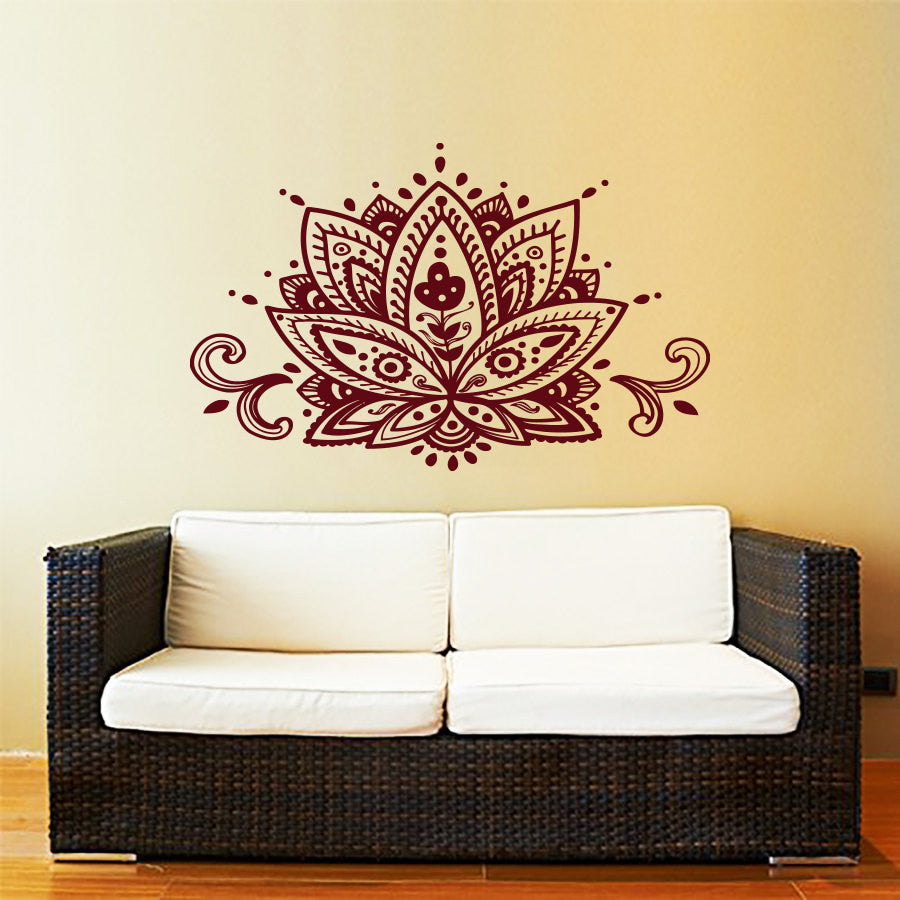 Lotus Flower Wall Decal Yoga Studio Vinyl Sticker Decals Mandala Ornament Moroccan Pattern Namaste Home Decor Boho Bohemian Art - Bohemian Gift Stores