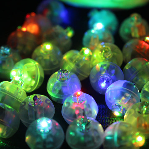 100Pcs/lot Color Round Mini Led RGB Flash Ball Lamp Put in paper Lantern Balloon For Christmas New Year Wedding Party Decoration