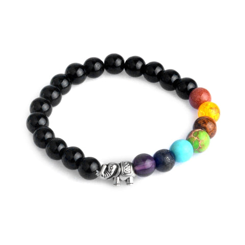 Silver Color Black Lava Energy Elephant Charm Rainbow Healing Crystal Beads 7 Chakra Bracelet Yoga Jewelry For Men Women Gift
