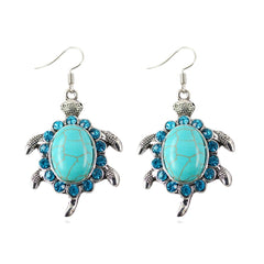 Tibetant Silver Earring Vintage Animals Turtle Crystal Natural Turquoise Stone Drop Earrings - Bohemian Gift Stores