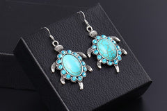 Tibetant Silver Earring Vintage Animals Turtle Crystal Natural Turquoise Stone Drop Earrings