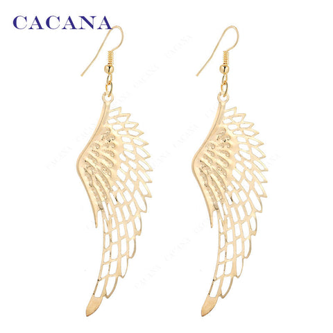 Gold or Silver plated dangle long earrings angel wings - Bohemian Gift Stores