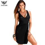 NAKIAEOI 2016 Plus Size Swimwear One Piece Swimsuit Women Summer Beach Wear Vintage Retro High Waist Bathing Suit Dress Black