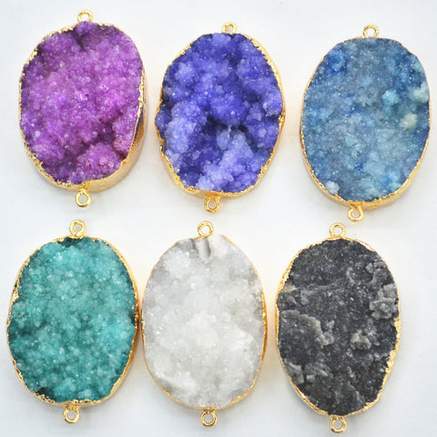 2016 HOT! Natural Druzy Agate Pendants Charms, Stone Agate Connector, 42x30 mm, Mixed Colors Sent At Random 6PCS Free Shipping