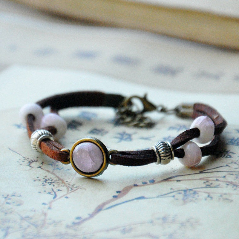 Ceramic Beads Bracelet Women Men Silver Charm Leather Chain Cuff Bangle Adjustable - Bohemian Gift Stores