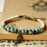 Leaf Charm Weave Rope Bracelets Women Men Ceramic Beads Adjustable Wristbands - Bohemian Gift Stores