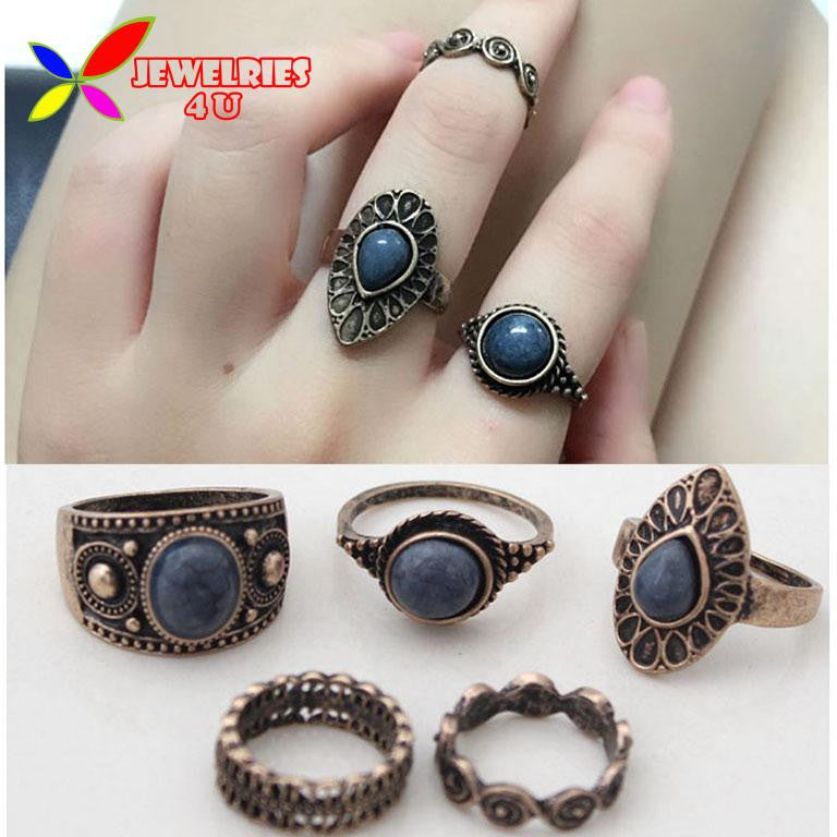 Vintage Ring Sets Fashion Designer Antique Alloy Nature Blue Stone 5pcs Midi finger Rings - Bohemian Gift Stores