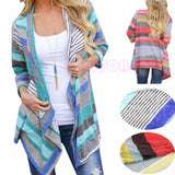 Red Stripe Boho Womens Long Sleeve Cardigan Loose Sweater Outwear Knitted Jacket Coat Tops - Bohemian Gift Stores