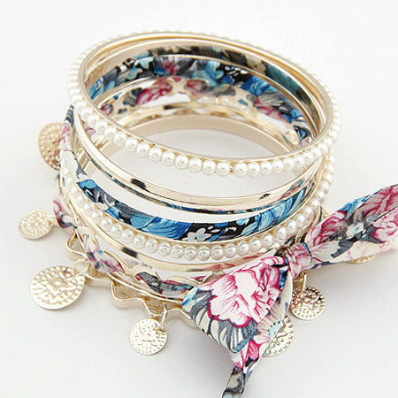 2017 Bohemian Multilayer Bracelet Femme Coin Fabric Bow Bracelets Bangles sets - Bohemian Gift Stores