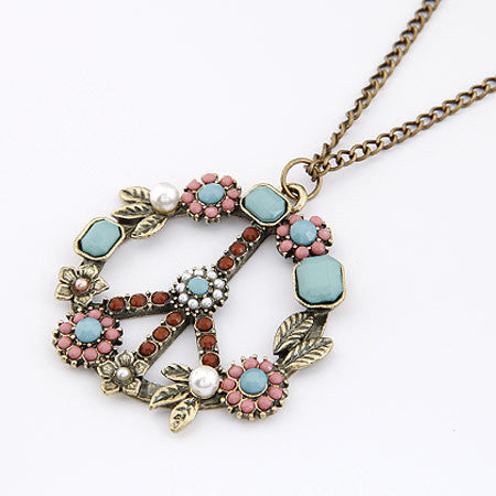 Long Chain Necklaces & Pendants for Women Men Jewelry Vintage Peace Symbol Necklace - Bohemian Gift Stores