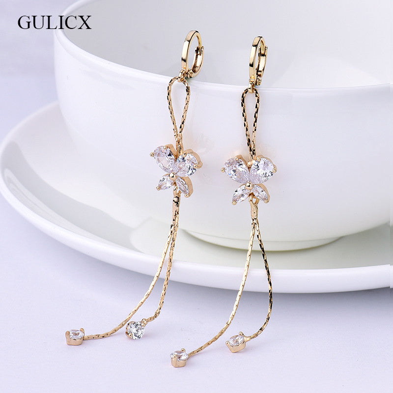 Long Tassel earrings for Women  Gold Plated Earring Crystal Cubic Zircon Dangle Earrings Wedding - Bohemian Gift Stores