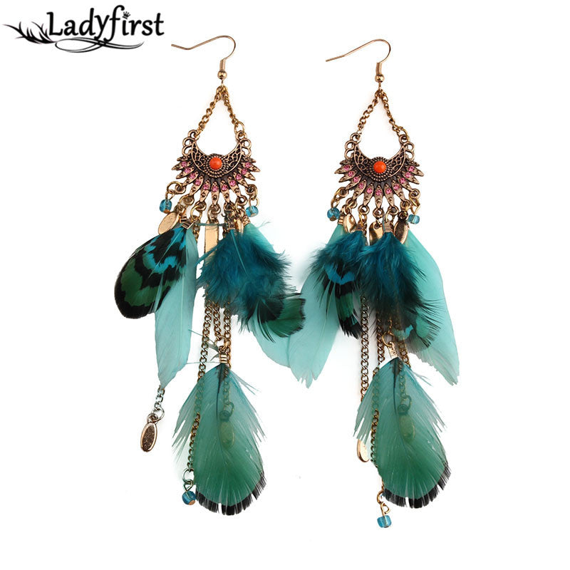 Ladyfirst 2016 Long Tassel  Fashion Feather Style Ethnic Boho Big Dangle Statement Earring Wedding Earrings Accessories 3494