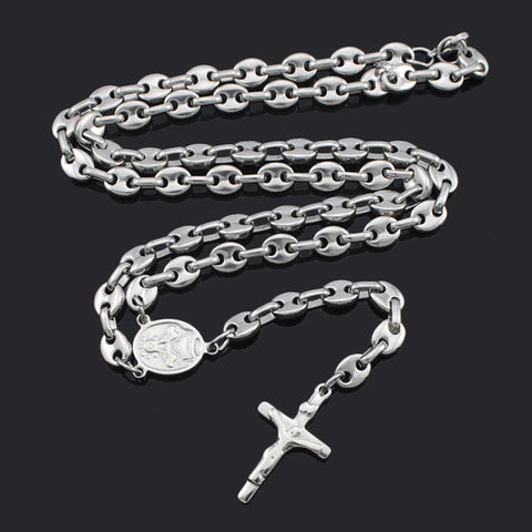 Romantic Rosary Beads chain Cross Religious Party Music Lover Free Shipping Stainless Steel Necklace Womens Mens Wholesale BRN02
