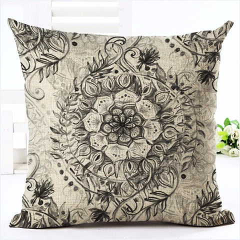 Bohemian Style Flower Printed Cushion Cover Pillow Case Linen Cotton Pillow Covers Plant sofa Car Seat Decorative Pillowcase - Bohemian Gift Stores