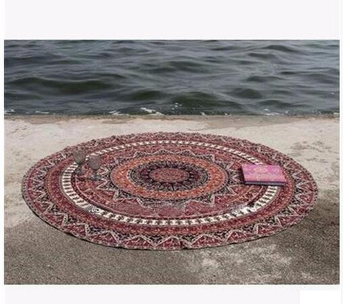 Round Bed Sheet Tapestry 150cm Bohemian Style Thin Chiffon Beach Yoga Towel Mandala Blanket - Bohemian Gift Stores