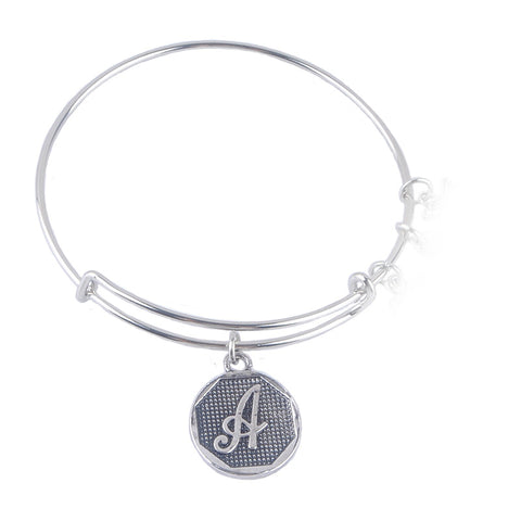Antique silver Plated A-Z Initial Letter Charm Bracelets Women Gift Adjustable Expandable Wire Bangle Bracelet - Bohemian Gift Stores