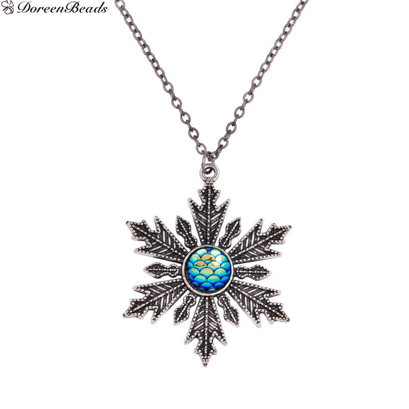 Handmade Druzy Fish /Dragon Scale Necklace Link Cable Chain Christmas Snowflake Blue AB Color Fish Scale 56cm, 1 PC - Bohemian Gift Stores