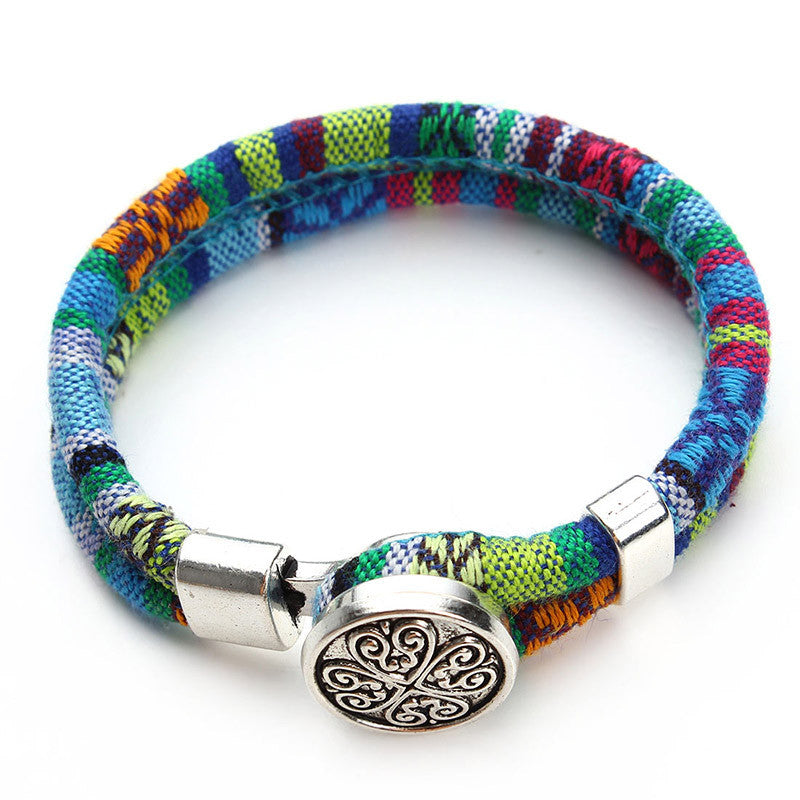 Bohemian Multicolor Cotton Cords Bracelets Tibetan Silver Plated Ethnic Wrap Flower Snap Button Bracelet Jewelry - Bohemian Gift Stores