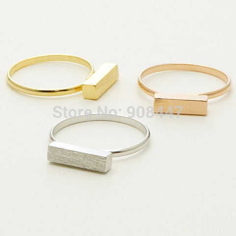 Modern Bar Ring  Silver/Gold/Rose Gold  Rectangle Ring,Geometric Cuboid Rings - Bohemian Gift Stores