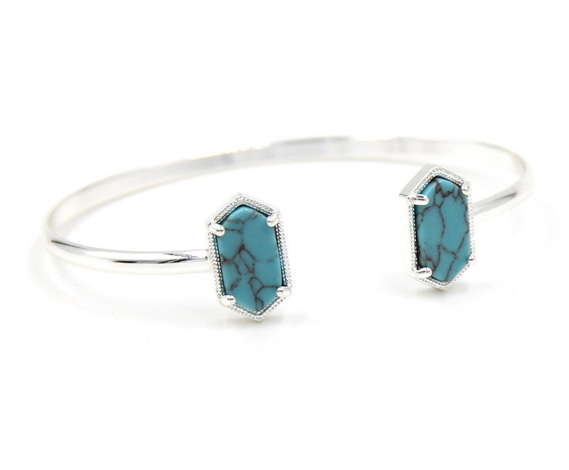 Cute Oval Quartze Copper Bangles White and Blue Turquoise Stone Resin Druzy Cuff Bracelets for Women - Bohemian Gift Stores