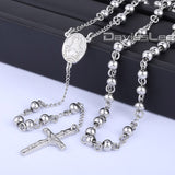 4/6/8/10mm Mens Chain Sliver Gold Tone Stainless Steel Bead Chain Crown Rosary Jesus Christ Cross Pendant Long Necklacce LKN365