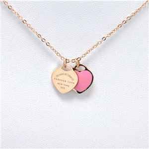 "Brand Tif Necklace Green/Pink""FOREVER LOVE""Stamp Pendant Necklace Choker Statement Enamel Double Heart Short Necklace For Women - Bohemian Gift Stores"
