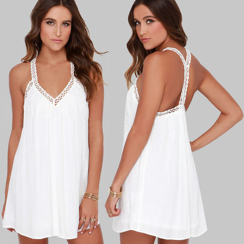 2016 New Summer Women Sexy Beach Dress Beach Cover Up V-Neck Backless Splicing Lace Strap Chiffon Dress Swimsuit Bikini Cover Up