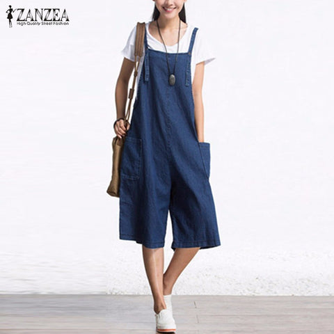 Sleeveless Adjustable Strap Pockets Button Wide Leg Denim Blue Retro Rompers Calf Length Overalls - Bohemian Gift Stores