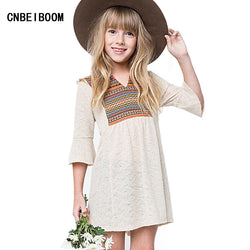 Bohemian Baby Girls Dress 2017 New Summer Brand Kids Embroidery Print Party Dress for Girl Children 4-17 Year Fashion Clothes